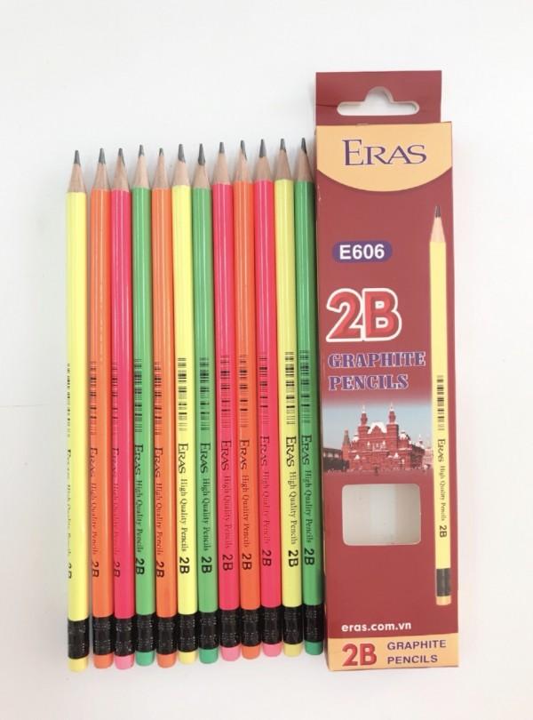 Chì gỗ sơn màu 2B có tẩy E606